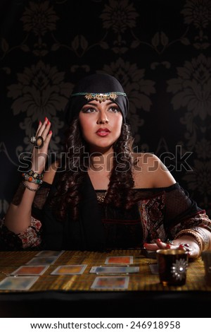 Prophetess woman seeing the future - stock photo