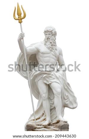 Proportion details Poseidon statue isolated on white background venezia Thailand Park. - stock photo
