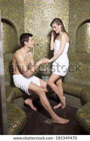 Proposal in the Turkish bathroom - stock photo