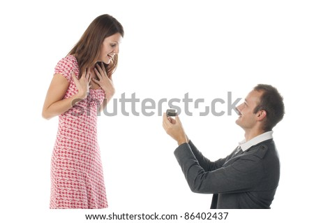 Proposal scene with happy woman and man. - stock photo