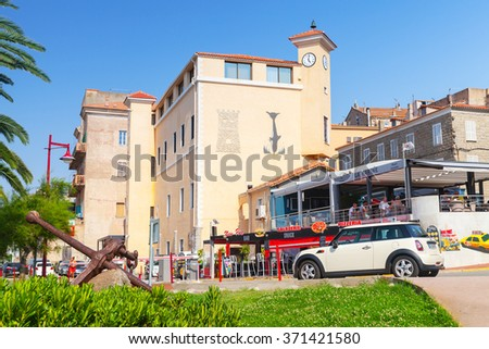 Propriano, France - July 3, 2015: Corsica island, street view of resort town in a summer day