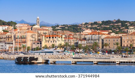 Propriano, France - July 3, 2015: Port of Propriano resort town, South region of Corsica island, France. Pier and cityscape, sea view