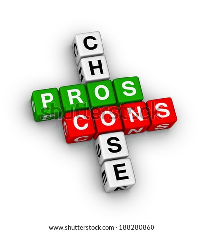 pros and cons compare crossword puzzle - stock photo