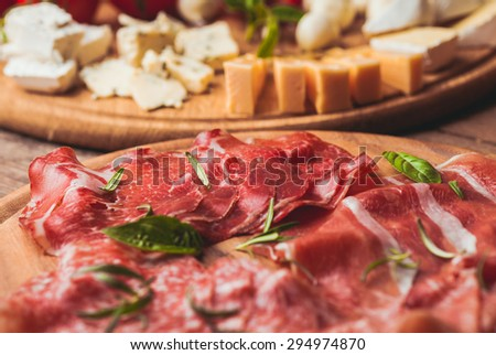 prosciutto crudo - italian ham, tradition sliced meat - stock photo