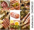 prosciutto theme collage made from seven photographs - stock photo