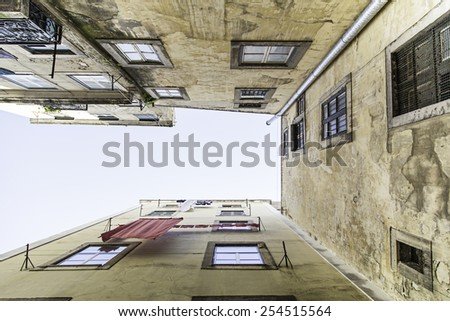 Prospect of old buildings, some old houses detail - stock photo