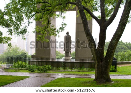 Prospect Terrace Park and Roger Williams statue - stock photo