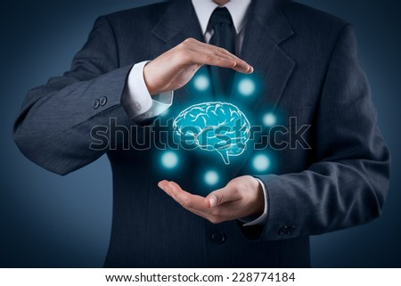 Protect business ideas, brainstorming and headhunter concepts. Intellectual property protection law and rights, copyright and patents concept. - stock photo