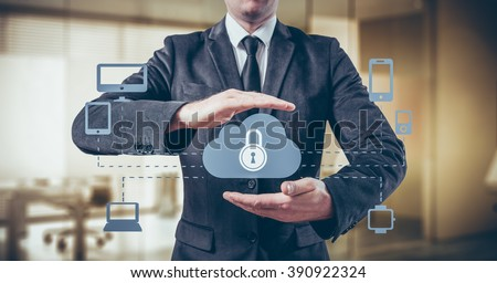 Protect cloud information data concept. Security and safety of cloud data. - stock photo