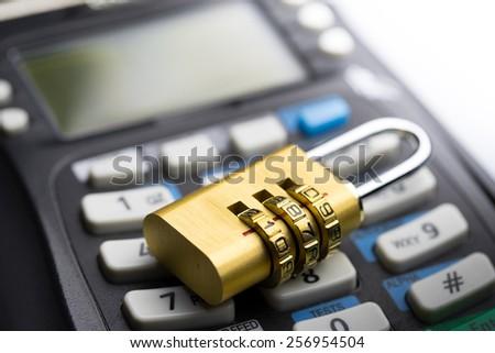 protect Credit & debit card password payment - stock photo