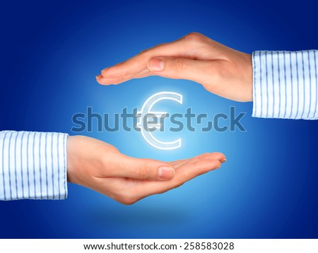 Protect money collage. Hands and euro symbol. - stock photo