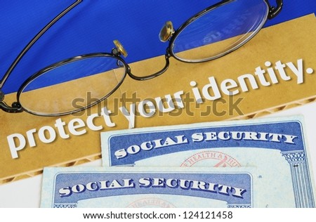 Protect personal identity concept of privacy theft - stock photo