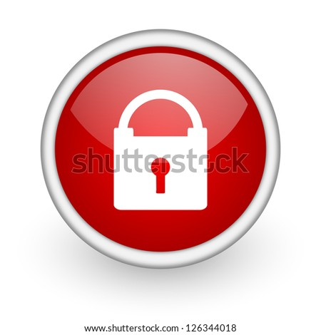 protect red circle web icon on white background - stock photo
