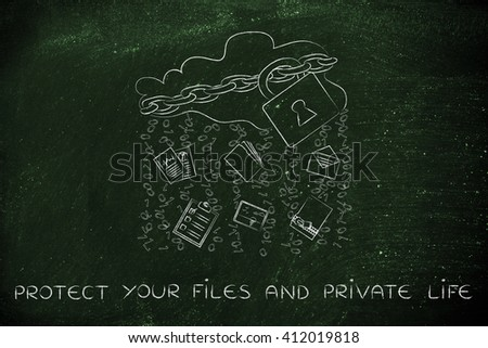 protect your files and private life: locked up cloud with different types of documents and binary code rain - stock photo