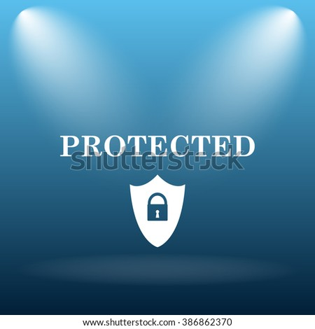Protected icon. Internet button on blue background.