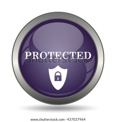 Protected icon. Internet button on white background.
