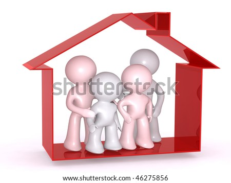 Protected under the home roof - stock photo