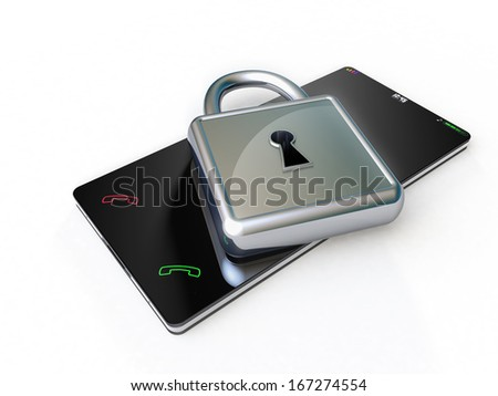Protecting a touch screen phone, by means of a silver padlock placed over - stock photo