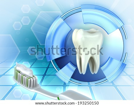 Protecting teeth using toothbrush and toothpaste. Digital illustration. - stock photo