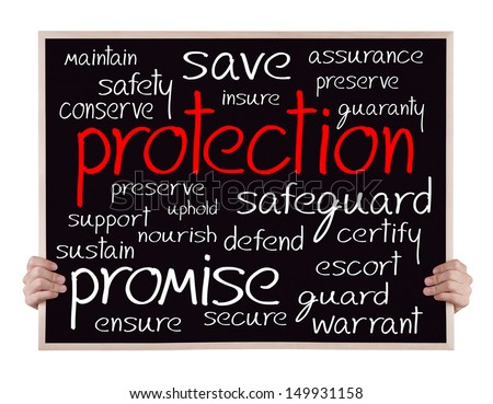 protection and other related words handwritten on blackboard with hands - stock photo