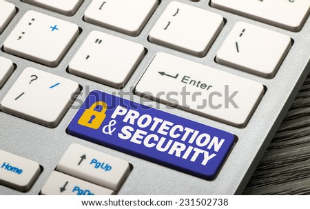 protection and security concept on keyboard - stock photo