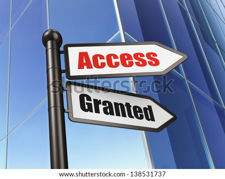 Protection concept: Access Granted on Building background, 3d render