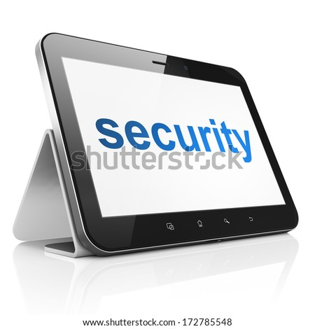 Protection concept: black tablet pc computer with text Security on display. Modern portable touch pad on White background, 3d render - stock photo