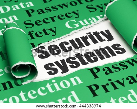 Protection concept: black text Security Systems under the curled piece of Green torn paper with  Tag Cloud, 3D rendering