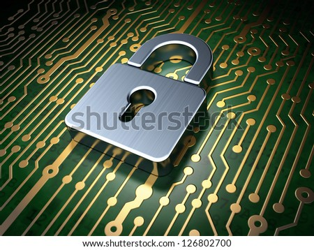 Protection concept: circuit board with Closed Padlock icon, 3d render - stock photo