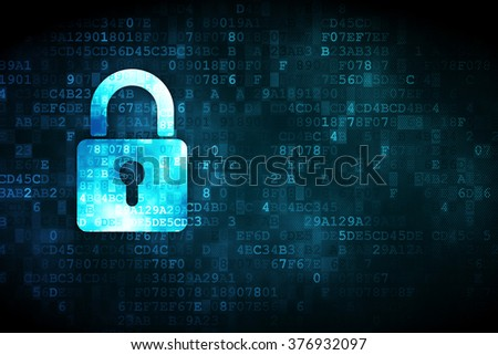 Protection concept: Closed Padlock on digital background