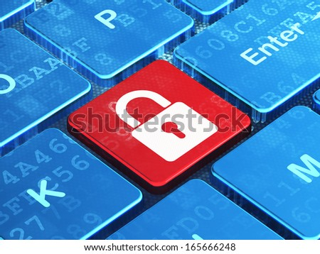 Protection concept: computer keyboard with Closed Padlock icon on enter button background, 3d render - stock photo