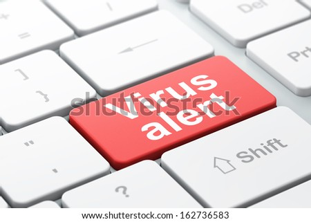 Protection concept: computer keyboard with word Virus Alert, selected focus on enter button background, 3d render