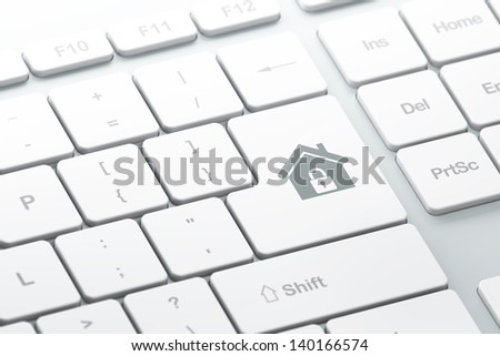 Protection concept: enter button with Home on computer keyboard background, 3d render, selected focus - stock photo