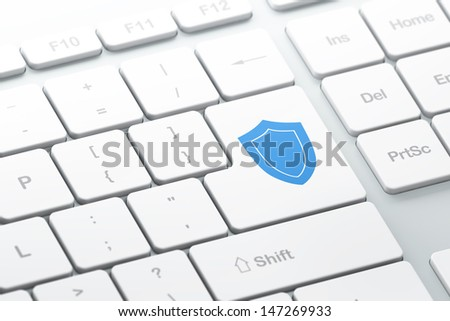 Protection concept: enter button with Shield on computer keyboard background, 3d render, selected focus