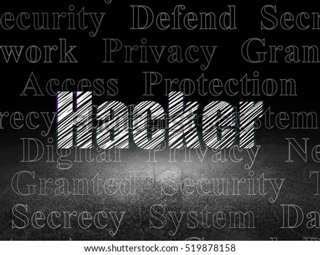 Protection concept: Glowing text Hacker in grunge dark room with Dirty Floor, black background with  Tag Cloud