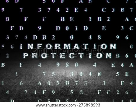 Protection concept: Glowing text Information Protection in grunge dark room with Dirty Floor, black background with Hexadecimal Code, 3d render