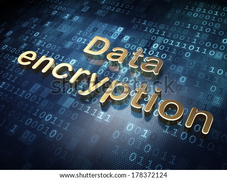 Protection concept: Golden Data Encryption on digital background, 3d render - stock photo