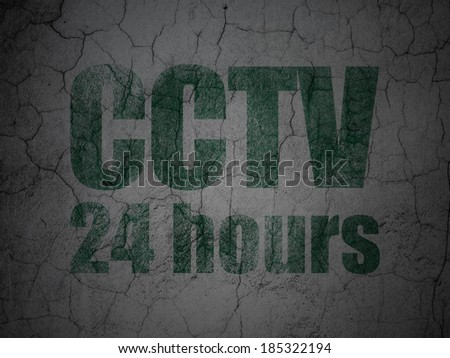 Protection concept: Green CCTV 24 hours on grunge textured concrete wall background, 3d render