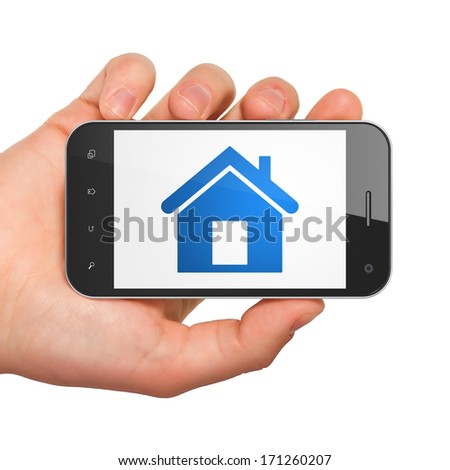 Protection concept: hand holding smartphone with Home on display. Mobile smart phone on White background, 3d render