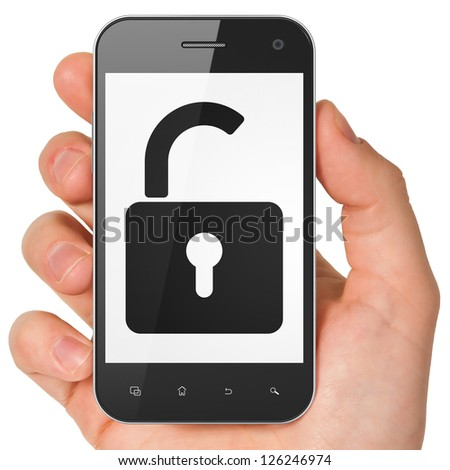 Protection concept: hand holding smartphone with Opened Padlock on display. Generic mobile smart phone in hand on White background. - stock photo