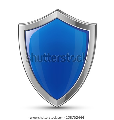 Protection concept. Illustration of blue glossy shield. Raster version - stock photo