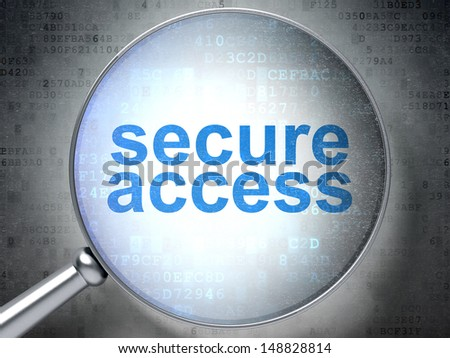 Protection concept: magnifying optical glass with words Secure Access on digital background, 3d render - stock photo