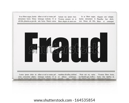 Protection concept: newspaper headline Fraud on White background, 3d render - stock photo