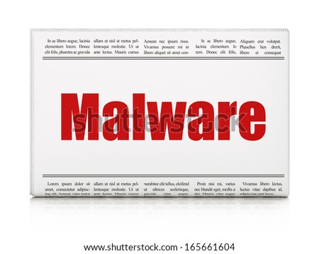 Protection concept: newspaper headline Malware on White background, 3d render