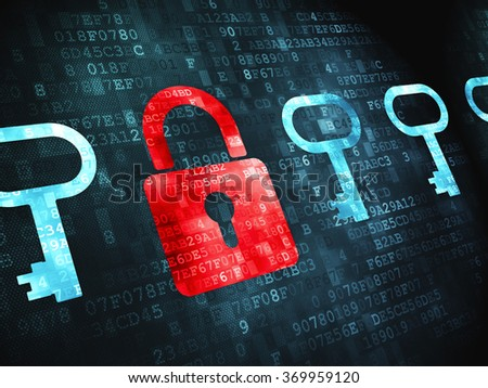 Protection concept: Padlock And Key on digital background - stock photo