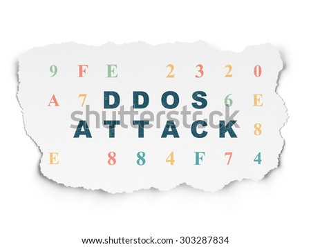 Protection concept: Painted blue text DDOS Attack on Torn Paper background with  Hexadecimal Code, 3d render