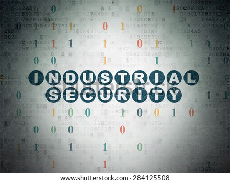 Protection concept: Painted blue text Industrial Security on Digital Paper background with Binary Code, 3d render - stock photo