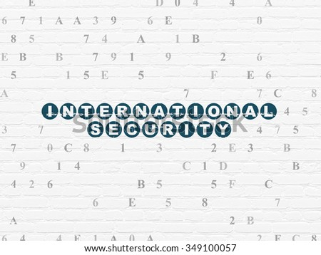 Protection concept: Painted blue text International Security on White Brick wall background with Hexadecimal Code