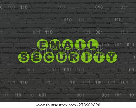 Protection concept: Painted green text Email Security on Black Brick wall background with Binary Code, 3d render - stock photo