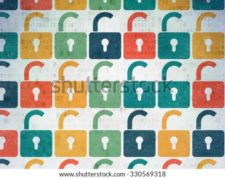 Protection concept: Painted multicolor Opened Padlock icons on Digital Paper background - stock photo